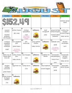 august month of meals budget meal plan moms bistro kid friendly dinner menu recipe free printable