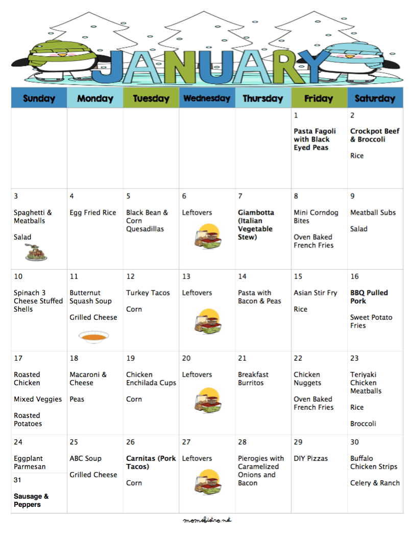 A Meal Plan To Save You Money On Groceries In The New Year 31 Days Of Dinners For 220 With Free Printable Grocery List And Recipes January 2016 Meal Plan Mom S Bistro