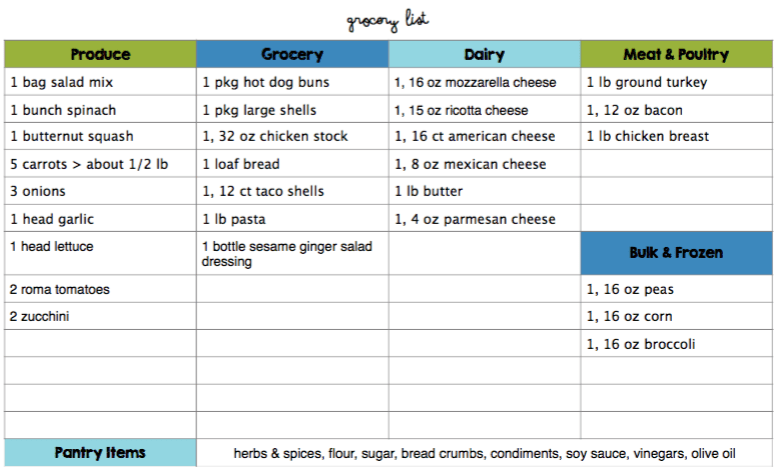 budget meal plan january 2016