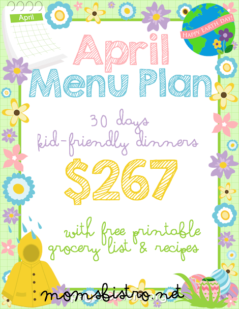 April Menu Plan Header