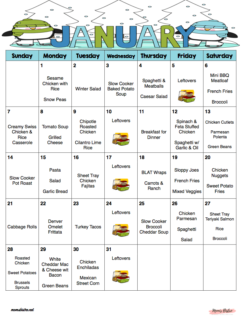 January 2018 , Free Monthly Meal Plan , Quick and Easy Kid