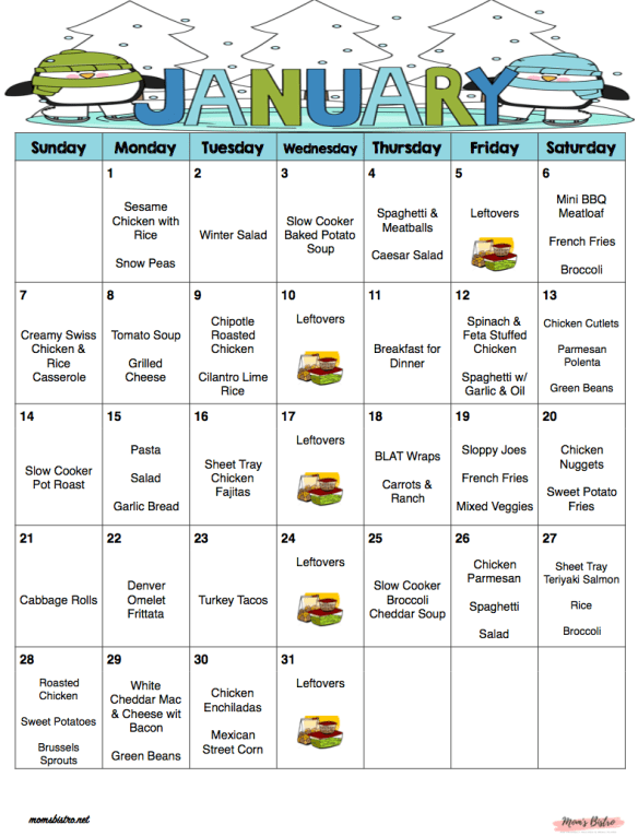 January 2018 - Free Monthly Meal Plan - Quick and Easy Kid