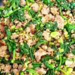 Cooked sausage, basil, spinach, and green onions