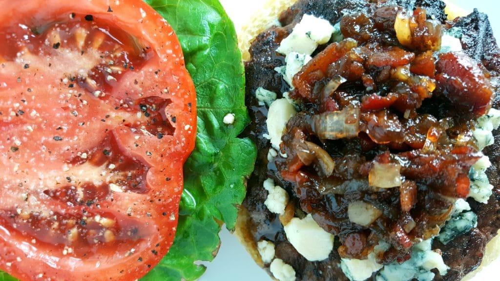 bacon jam and blue cheese burger momsdinner.net