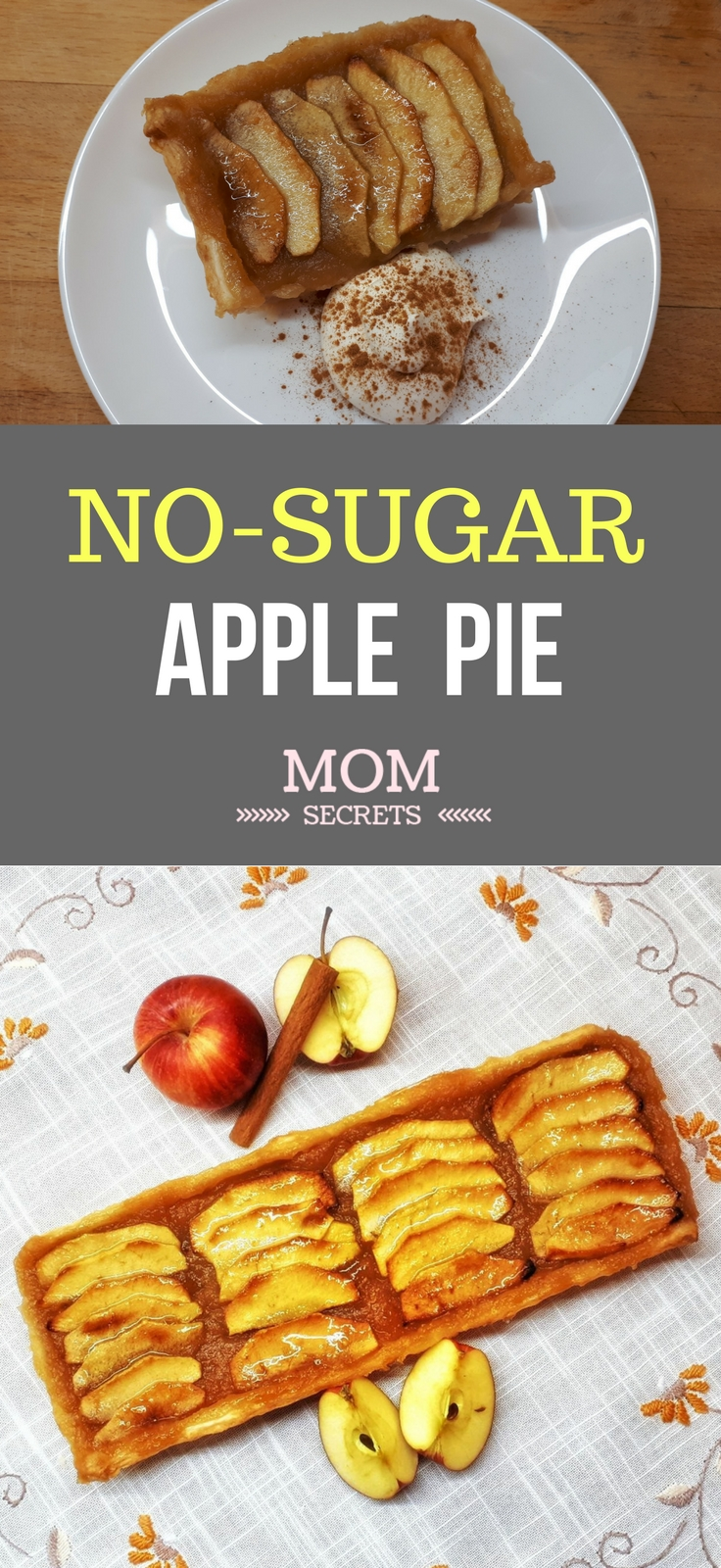 Easy homemade apple pie. It´s a healthy recipe - it has no sugar. The filling is made only with apples.