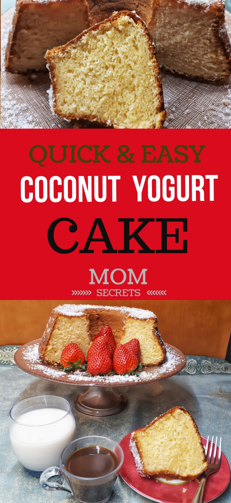 Today I'm bringing you an easy, simple and quick recipe for greek yogurt cake with grated coconut. This cake is ready in less than one hour. This is a perfect cake for breakfast or for an afternoon snack. It´s also perfect for kids school lunch.