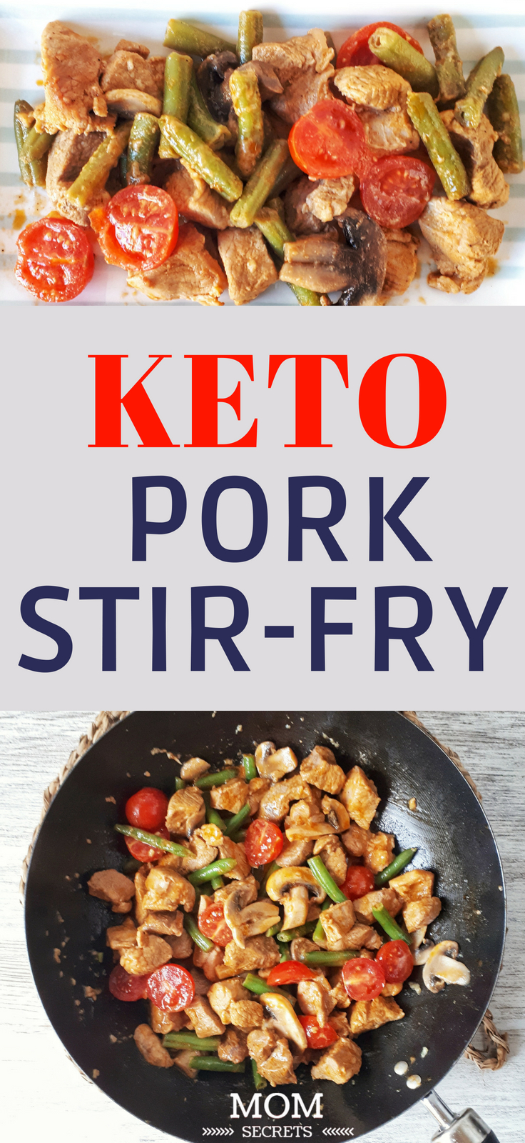 Today I'm bringing you this quick keto pork sit fry recipe using fresh vegetables like green beans, mushroom and cherry tomatoes. It's an easy, simple, low carb and paleo whole family meal!