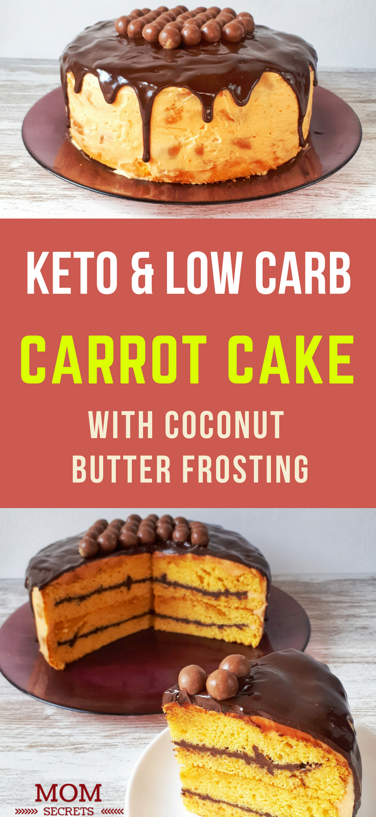 This amazing layer carrot cake is sugar, grain, and dairy-free. It is also low carb, keto, and paleo. It's perfect for a birthday cake!