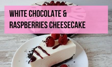 No Bake White Chocolate Cheesecake with Raspberries