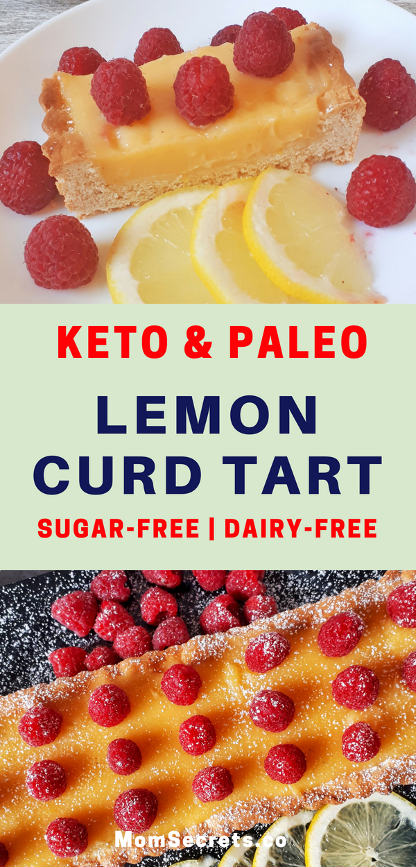 Today I´m bringing you a perfect and fresh dessert: a lemon tart that is made with a dairy-free, gluten-free and sugar-free lemon curd and crust. It's also keto and paleo. This lemon curd tart is topped with fresh raspberries and it's a perfect dessert for spring or summer days!