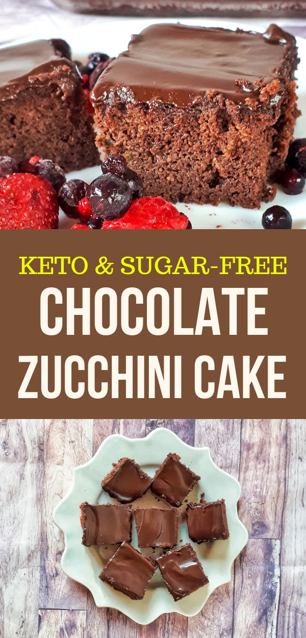 This chocolate zucchini cake is the best keto, low carb, sugar-free and gluten-free recipe ever. Chocolate zucchini cake is moist and tastes amazing.