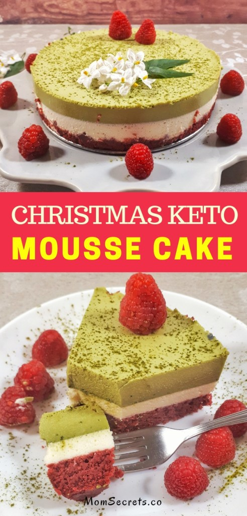 Christmas matcha mousse cake is a gorgeous three-layer cake made with matcha and vanilla mousse, all on a keto red velvet cake. It´s totally a show stopper for your holidays. #christmas #christmasdesserts