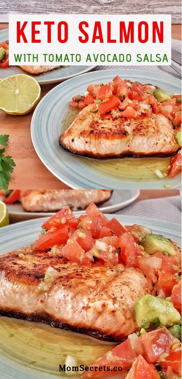 Keto salmon fillets are pan-seared are a healthy and simple dinner with a vibrant and rich lime tomato and avocado salsa. Simply irresistible! #ketodinner