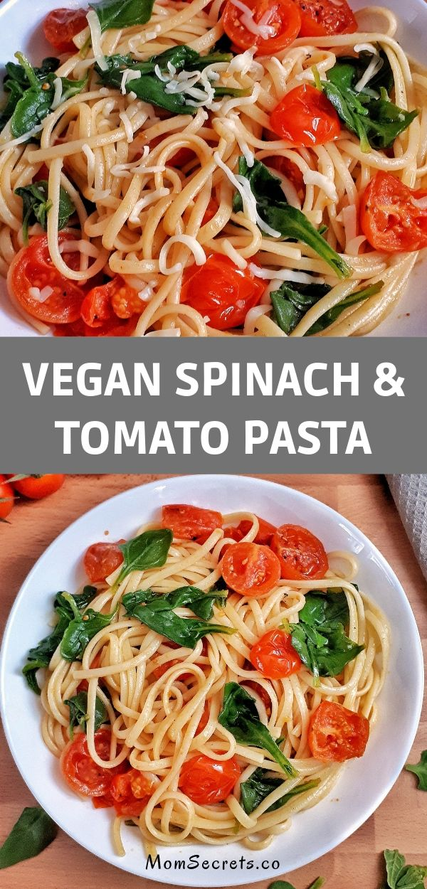 This easy spinach and tomato pasta recipe is simple, fresh, and healthy! Perfect for your weeknight dinner, it takes less than 30 minutes to be ready!