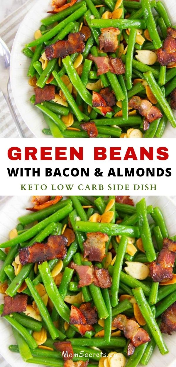 This easy green beans with bacon and almonds side dish make an elegant side dish that's perfect for a holiday meal or an easy weeknight dinner. #greenbeans #sidedish