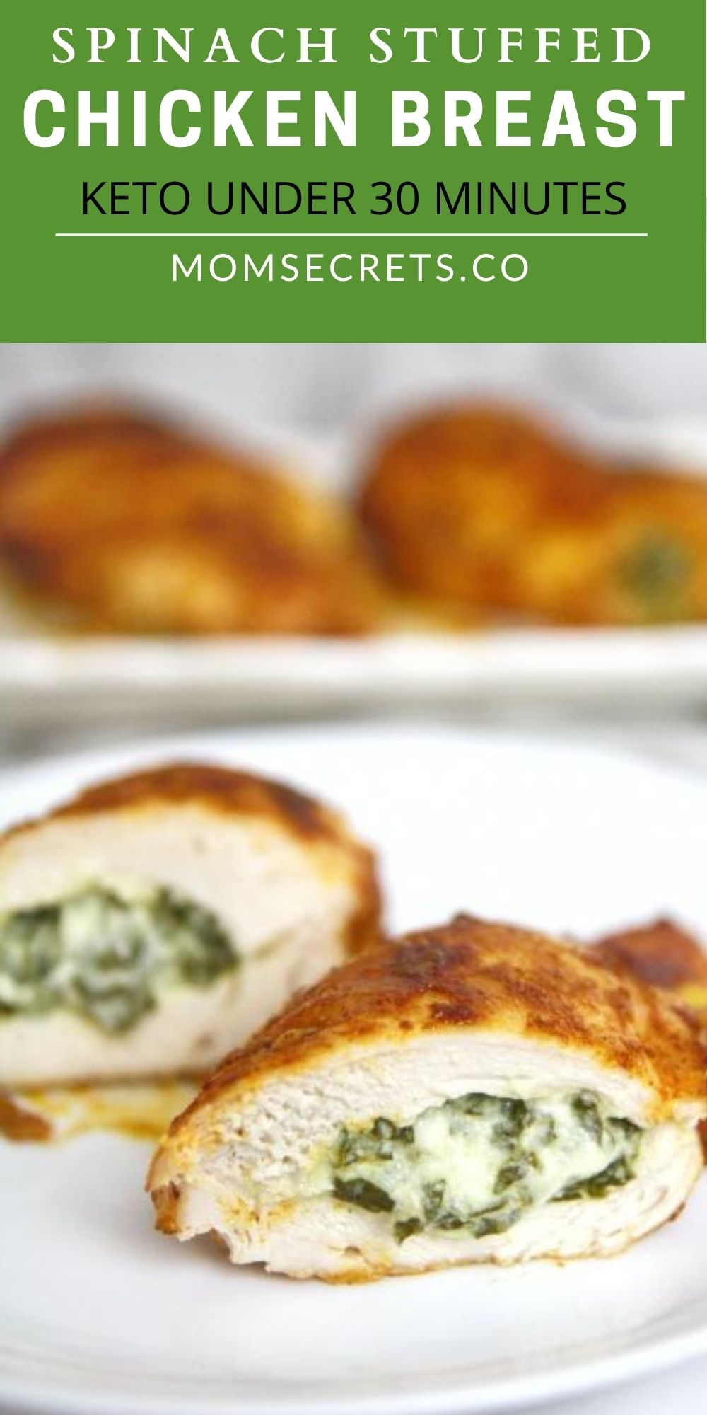 This chicken breast stuffed with cheesy spinach filling baked in the oven is super juicy and tasty. This keto meal is family-friendly and quick to make. #keto #ketodinner #chickenrecipe