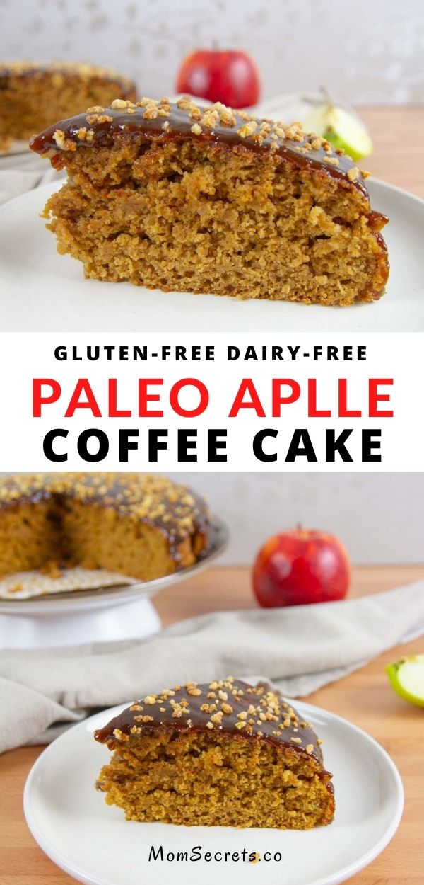 Easy Caramel Apple Coffee Cake features a coconut sugar cinnamon apple cake a vegan coconut caramel sauce. Perfect simple fall treat EVERYONE will love! #apple #coffeecake #breakfast #dessert #paleo #gluten-free