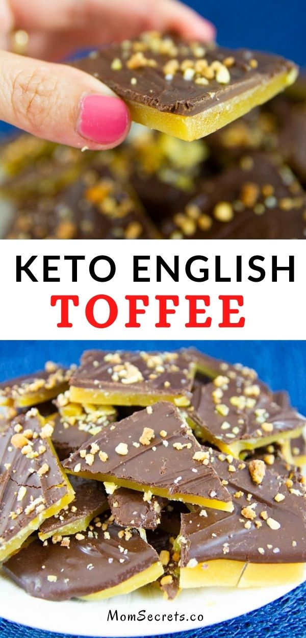 Easy Keto Homemade English Toffee with crunchy peanuts and creamy chocolate! This Keto English Toffee is easy to make and makes the perfect treat. #keto #lowcarb #englishtoffee #toffee #ketosnack