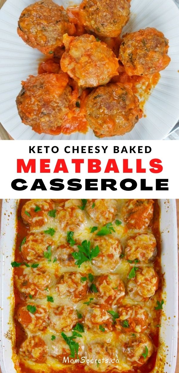 This Cheesy Keto Meatball Casserole is delicious topped with your favorite low carb marinara and loads of melty cheese! Makes the perfect comfort food meal. #ketocomfortfood #ketodinner #ketorecipes