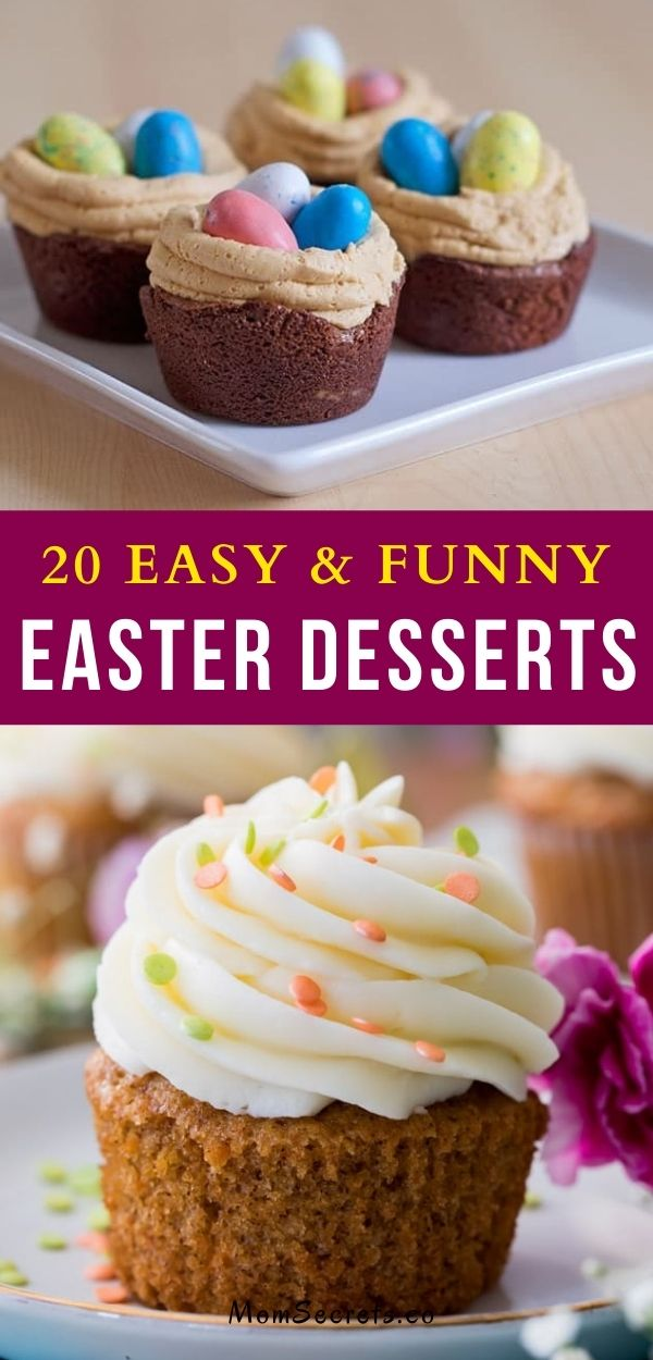 These 20 Easter desserts can be fun to create with your kids, if you're looking for a fun Easter activity to do before the big day. #easterdesserts #easterrecipes #easter #funnydesserts