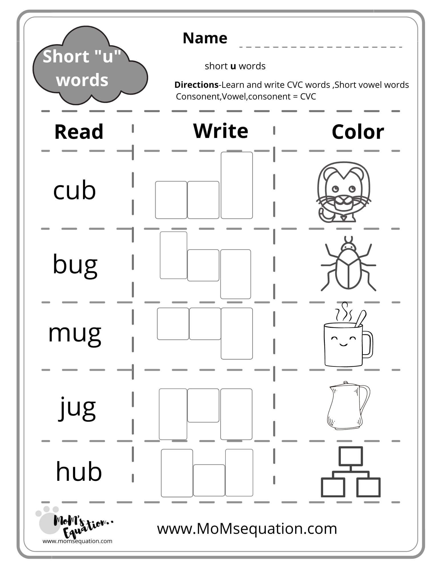 Cvc Words Worksheets A E I O U With Pictures Free