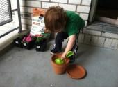 Declan's idea of gardening.