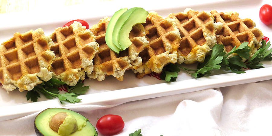 Sage and Cheddar Waffles for Vegetarian Keto diet