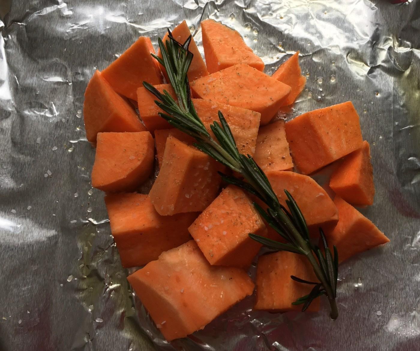 Rosemary, sweet potato, salt, pepper & olive oil.