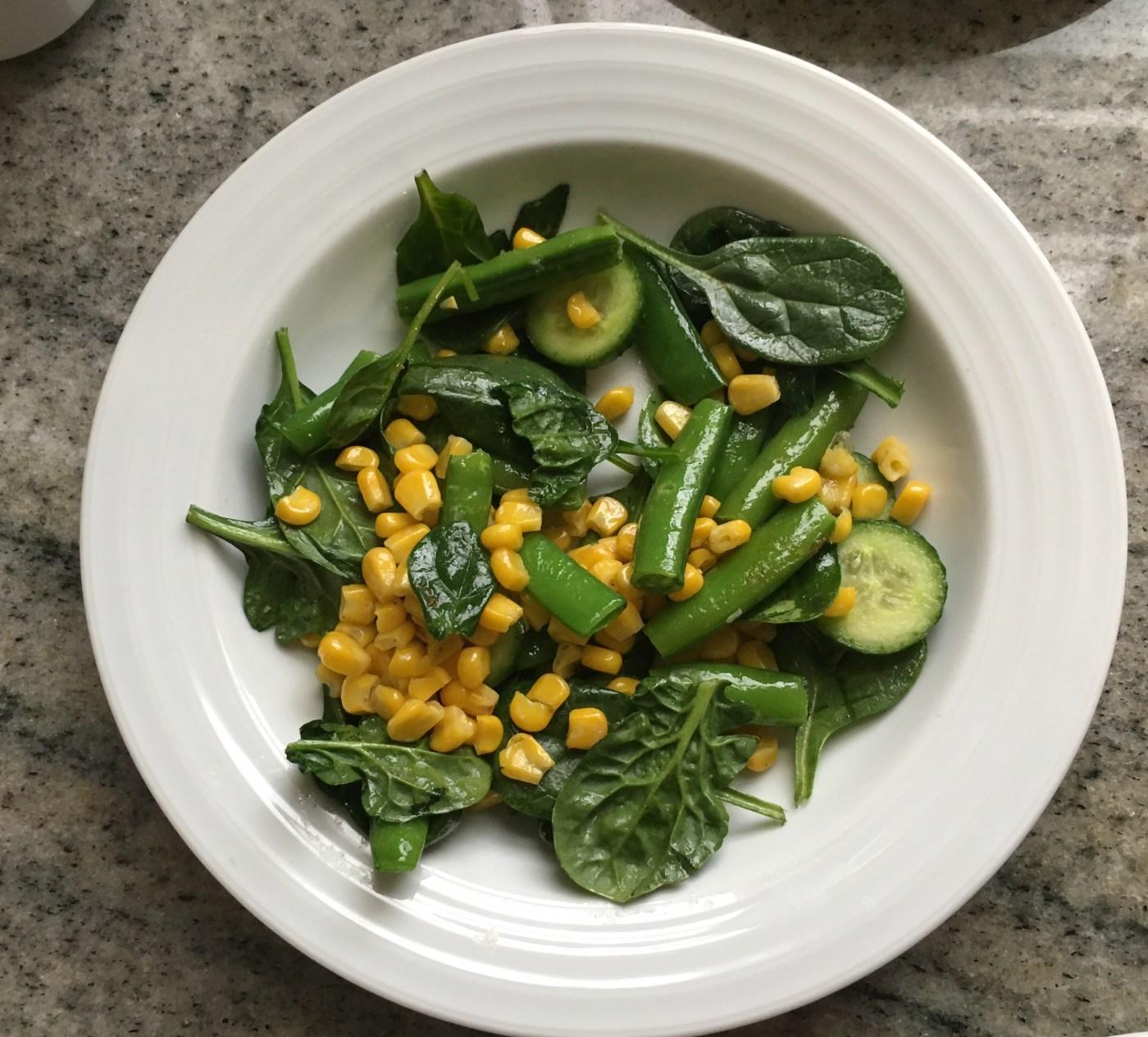 Snap pea, corn, cucumber & spinach salad
