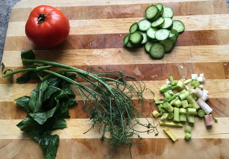 Tomato, baby cucumbers, pea tendrils & green garlic