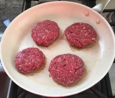 Cooking beef burgers