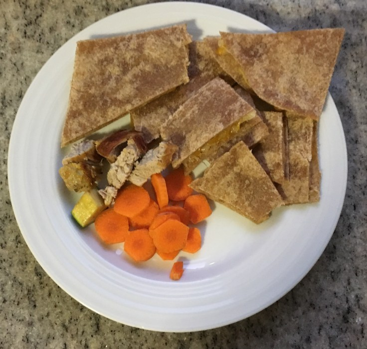 Maple roast pork kids plate with cheese quesadilla, zucchini, eggplant & carrots