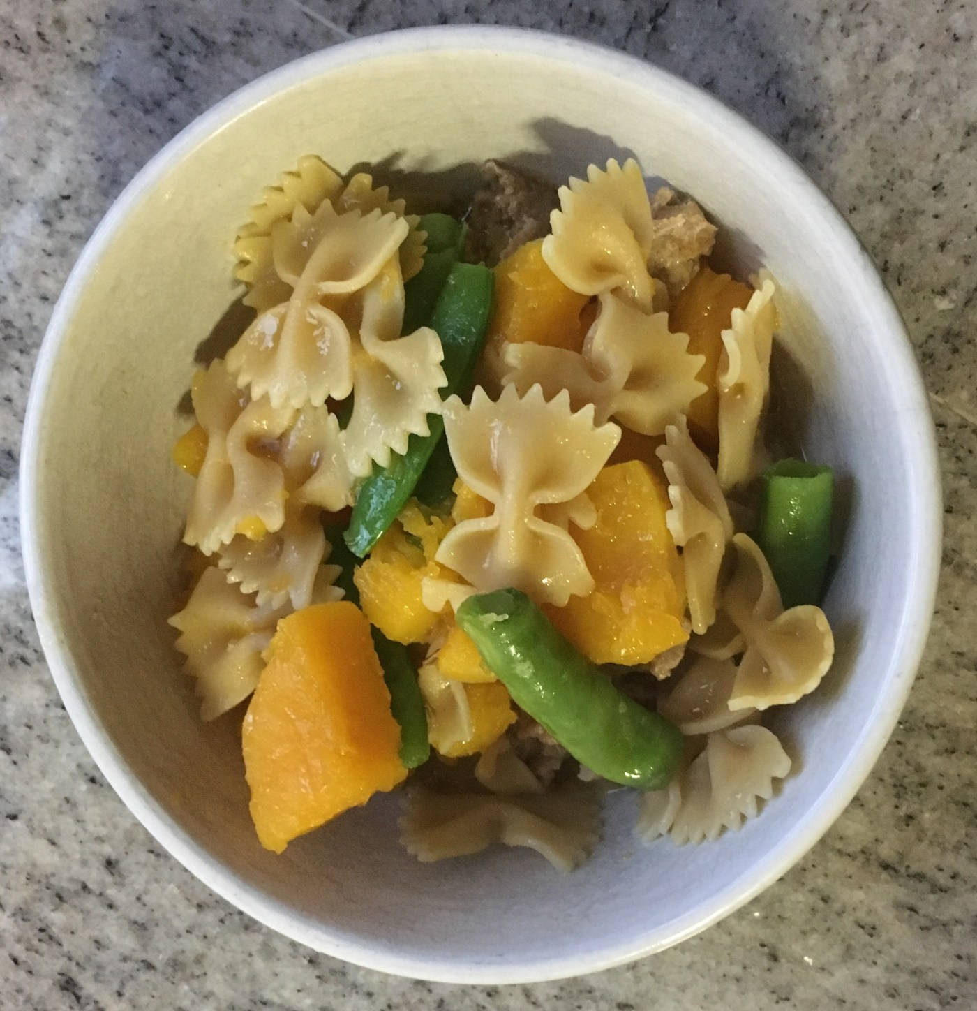 Simple weeknight pasta, butternut squash, pea & sausage 'soup'