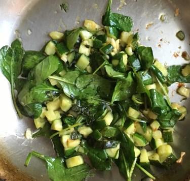 Sauteed garlic, zucchini, spinach & basil for green diva sauce