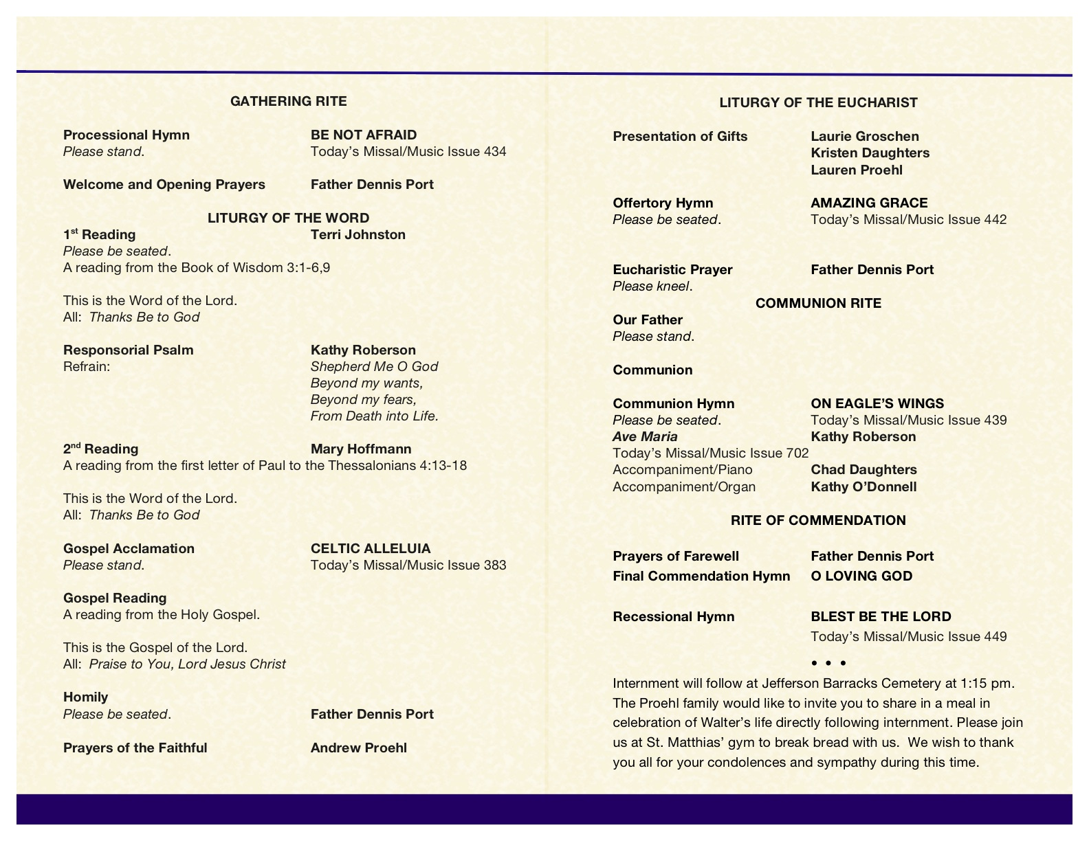 Catholic Memorial Mass Program Template