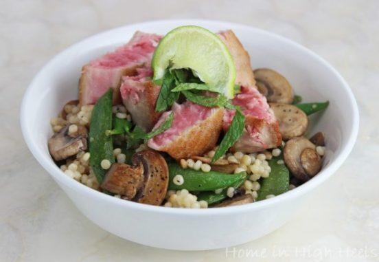 Seared-Ahi-Tuna-with-Mushrooms-Peas-Couscous