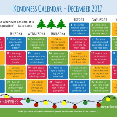 Kindness Calendar For Everyone to Use Instead of Advent