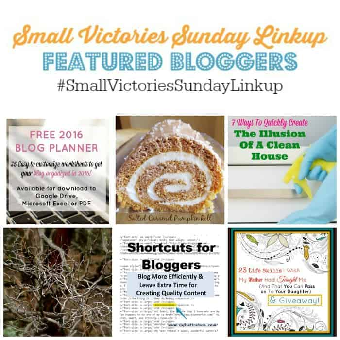 Small Victories Sunday Linkup 78 Featured Bloggers. Free 2016 Blog Planner from Mom's Small Victories, Salted Caramel Pumpkin Roll from Tournadough Alli, 7 Tips for Creating the Illusion of a Clean House from Fun Money Mom, I am Troubled by Sharon Sharing God, 3 Shortcuts for Bloggers from Giftie Etcetera, 23 Life Skills I Wish My Mother Had Taught Me by Woman Abiding.