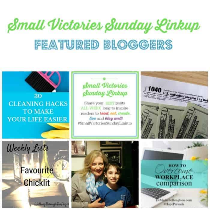 Small Victories Sunday Linkup 98: 30 Cleaning Hacks to Make Your Life Easier by Tidbits of Experience, A Day in the Life of My New Healthy Life by Blogging Astrid, The Other Side of the Coin by Journey of the Word, Weekly Lists: Favourite Chicklit by Walking through the Pages, Embracing Who You Really Are & Aging Gracefully by Hines Sight Blog and How to Overcome Workplace Comparison by Dr. Michelle Bengtson