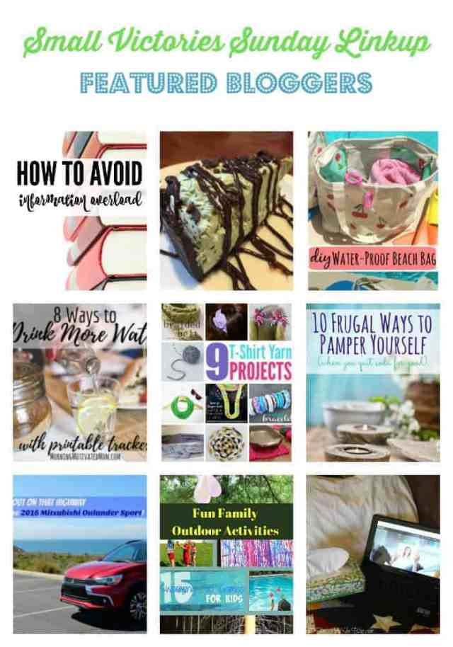 SVS Featured Bloggers 112: How to Avoid Information Overload by Morgan Manages Mommyhood, Grasshopper Thin Mint Cheesecake from Marilyn's Treats, DIY Waterproof Swim Bag from Dazzled While Frazzled, 8 Ways to Drink More Water by Morning Motivated Mom, 9 T-shirt Yarn Project Ideas from The Crafty Blog Stalker, 10 Frugal Ways to Pamper Yourself from Quirky Inspired, Mistubishi Sport from The Mad Mommy, Fun Family Outdoor Activities from Sharing Life's Moments and Is there a Doctor in the House? from O Taste and See
