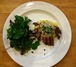 Pan Seared Beef Tenderloin with Brandy Mustard Sauce, Field Green Salad with Homemade Vinaigrette