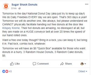 national dounut day sugar shack donuts