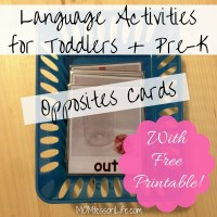 Language Activities for Toddlers and Preschoolers -- Opposites Cards [With Free Printable!]