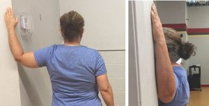 Door stretch is an easy stretch for flexibility that pulls back the shoulder to loosen mid-back muscles.