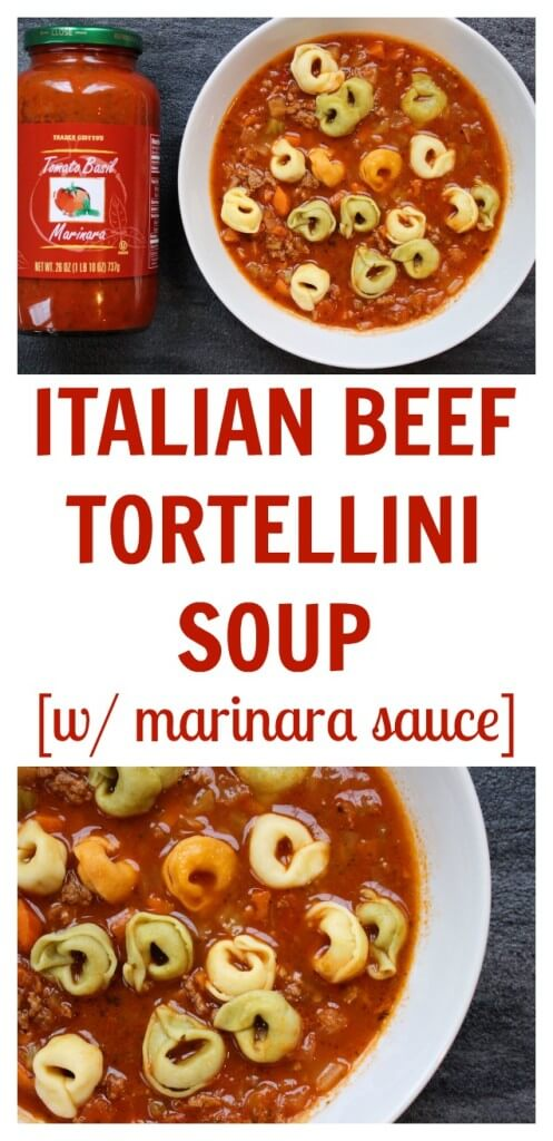 Italian Beef Tortellini Soup is made with jarred marinara sauce and lean ground beef. Tricolored tortellini make it super kid-friendly too!