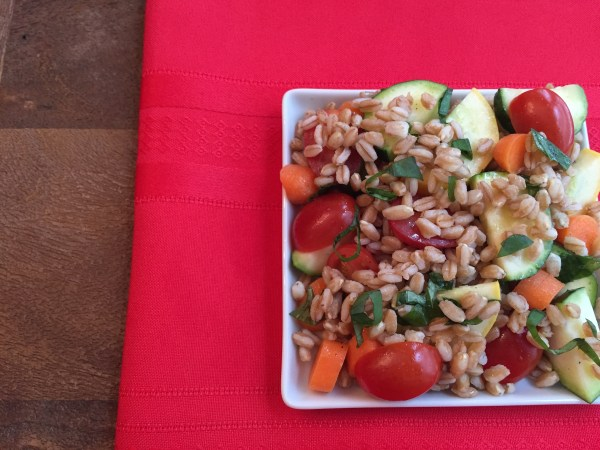 Farro Vegetable Salad makes a flavorful and healthy side dish packed with vegetables and a fresh lemon basil dressing. Plus it's gluten free!