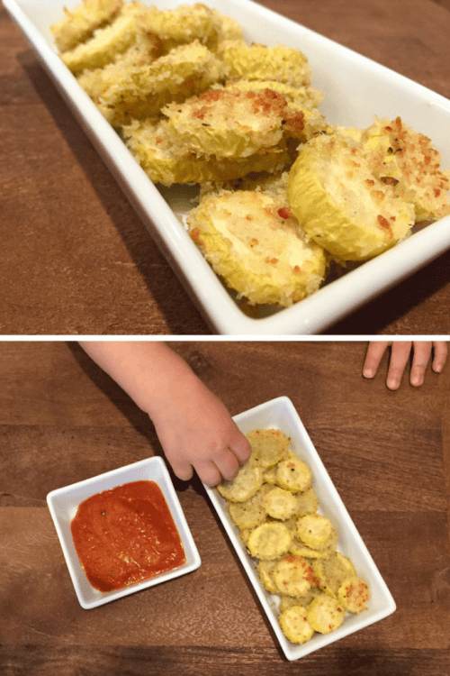 Parmesan yellow squash rounds make the perfect kid-friendly snack or side dish. Serve with yogurt or marinara sauce for dipping. You can also use zucchini squash in place of yellow squash.