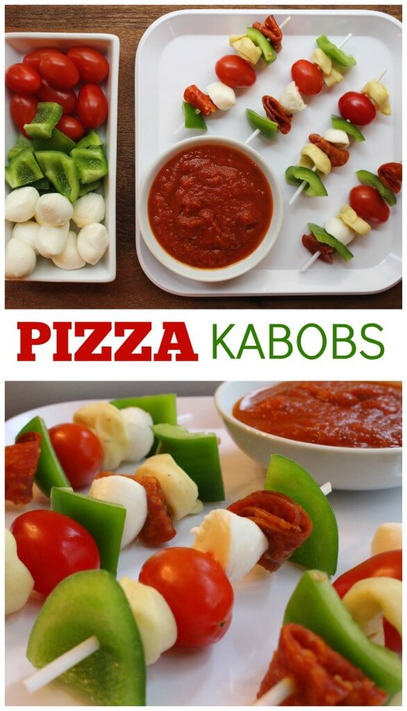 Pizza Kabobs make the perfect kid-friendly, customizable meal! Just take your favorite pizza toppings, dipping sauce, and voila! You have a no-bake pizza option!