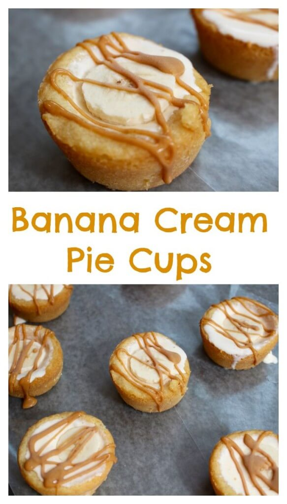 Banana yogurt and vanilla ice cream make one sweet frozen pie filling in these banana cream pie cups!