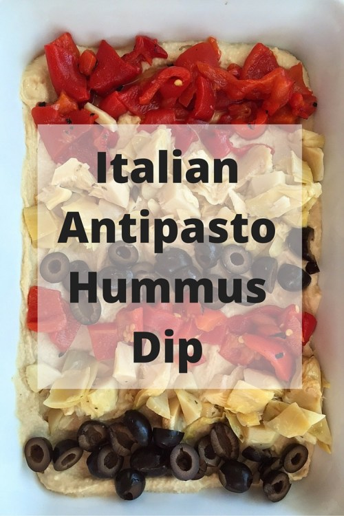 Simple and colorful ingredients come together to make the easiest Italian Antipasto Hummus Dip. Perfect for any occasion and ready in minutes!